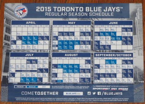 Blue Jays Giveaway Schedule - april 14 16 2015 toronto blue jays vs ta bay rays magnet schedule