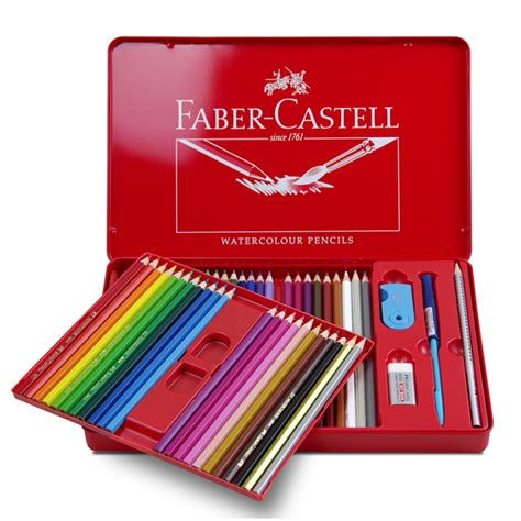 Pencil Warna Faber Castell 24 Warna Water Colour faber castell water colored pencil 24 36 48 colors tin box 114468 drawing non toxic pencils set