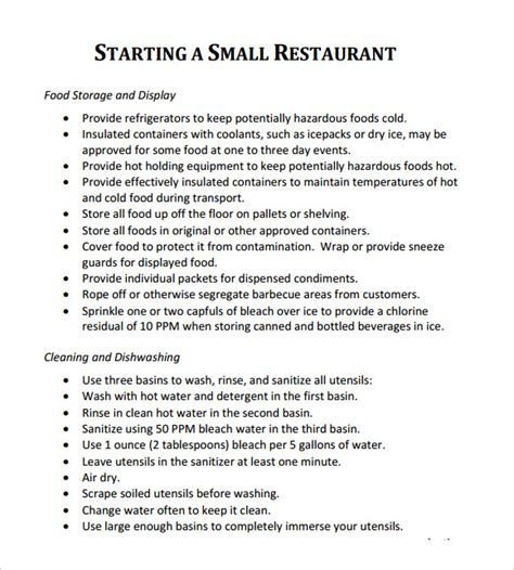 templates for restaurant business plan restaurant business plan template 7 download free