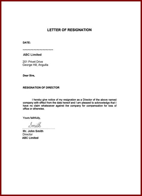 Resignation Letter Format Template Doc 585536 Resign Letter Simple 11 Simple Resignation