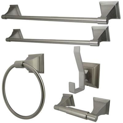 kingston brass 5 bathroom accessory set in satin nickel hbahk612124788 the home depot