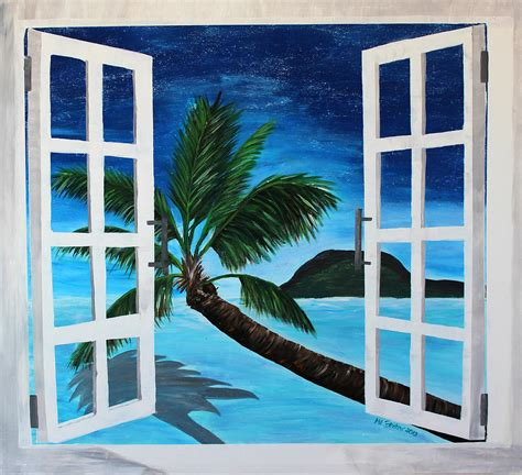 Buy Online Wall Stickers window to paradise beach painting by m bleichner