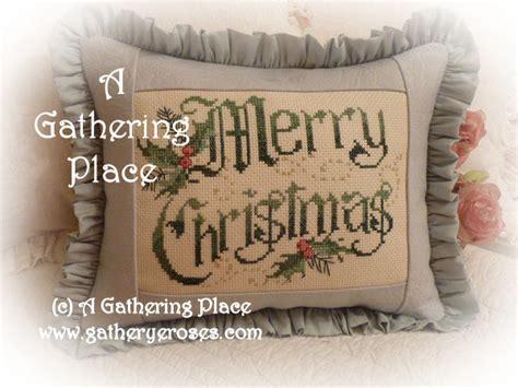 winner merry christmas cross stitch pillow