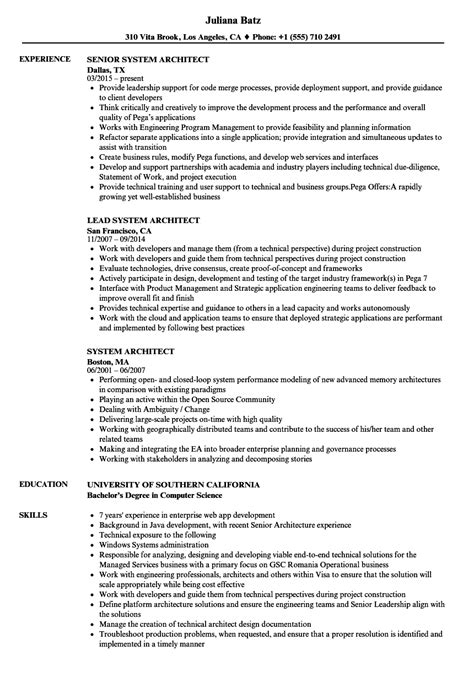 system architect resume sles velvet jobs