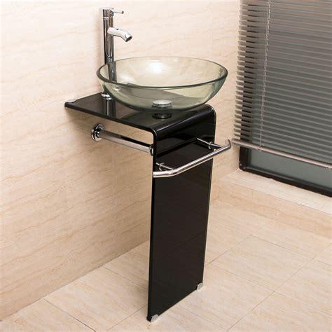 modern bathroom vanity pedestal clear glass vessel sink combo set  faucet ebay