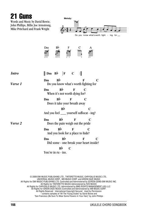 21 guns sheet by green day ukulele with strumming