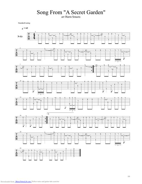 secret tabs song from a secret garden guitar pro tab by secret garden