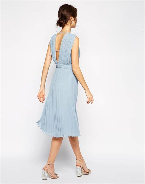 Pastel Drapery Midi Cardie Kls402 lyst asos pleated midi dress with plunge neck in blue