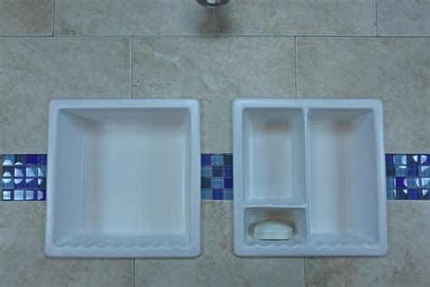 add ceramic corner shelf to shower modern