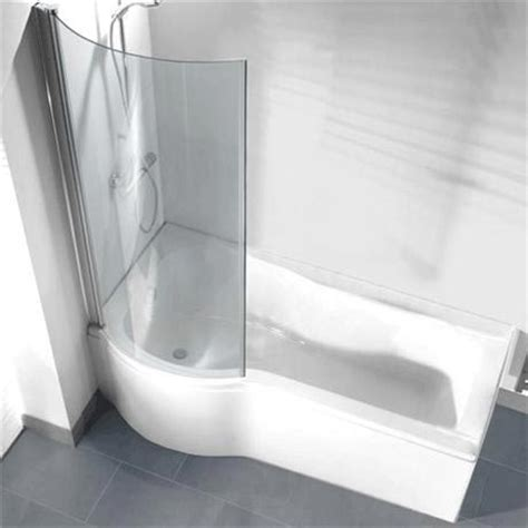 curved bath shower screens p shaped shower bath pack with curved shower screen left option at plumbing uk