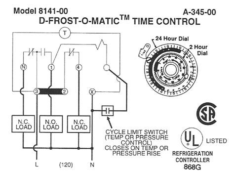 wiring diagram for defrost timer 8141 defrost timer parts