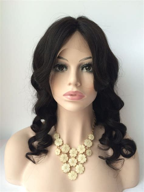 20inch natural color peruvian hair loose wave lace front wig