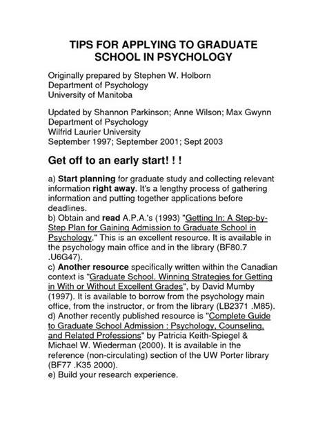 psychology graduate school resume http www