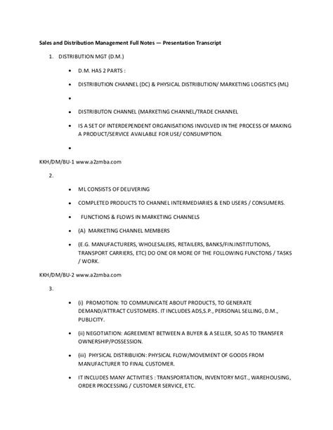 Distribution Management Notes For Mba by Sales And Distribution Management Notes