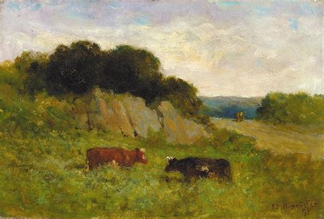 Landscape Artwork For Sale Edward Mitchell Bannister Landscape With Two Cows Painting