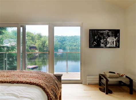 small lake house contemporary bedroom burlington