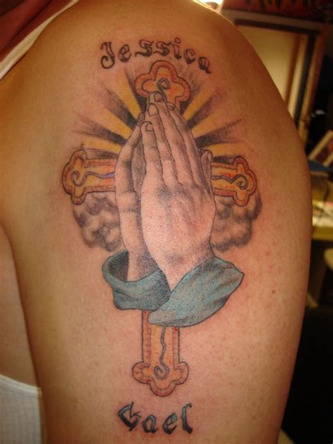 praying hands with cross tattoo today s praying designs