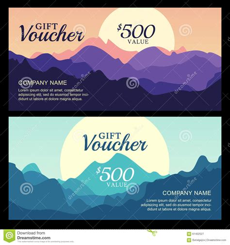 tree gift card template vector gift voucher with mountain landscape view stock