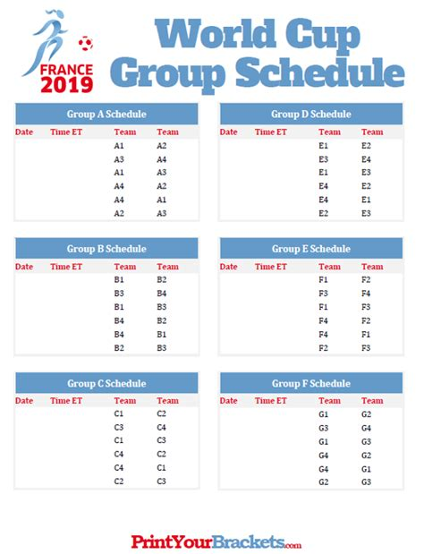 World Cup Groups Printable printable 2019 s world cup schedule