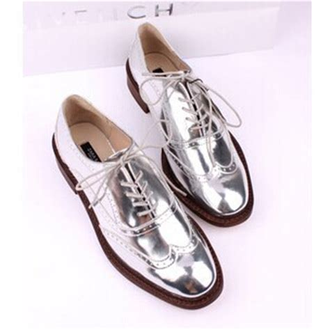 silver oxford shoes womens new platform silver lace up s metallic