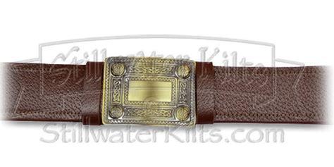 premium brown kilt belt with antique brass buckle
