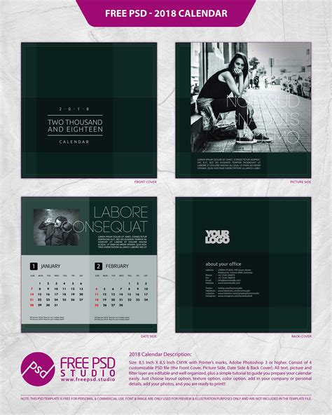 design calendar psd 2018 calendar psd 2018 calendar template free template