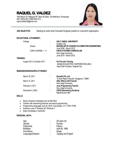Resume Format Sle In The Philippines Resume 1
