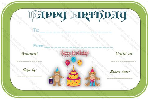 bear birthday gift certificate template gift certificates