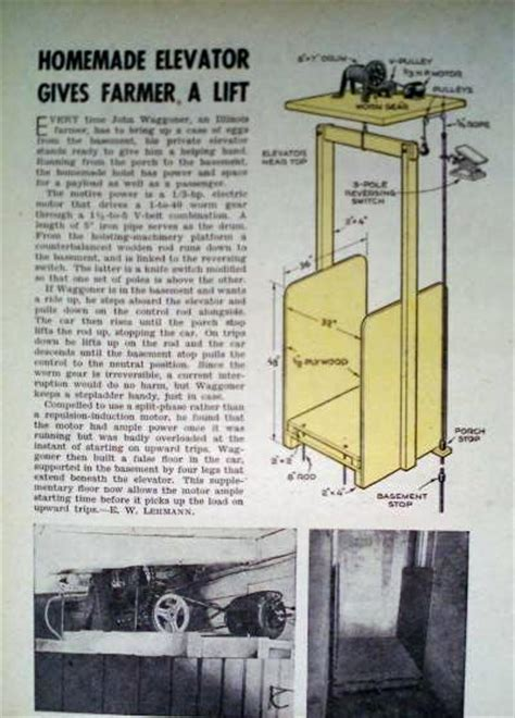 how to build a personal elevator lift hoist 1946