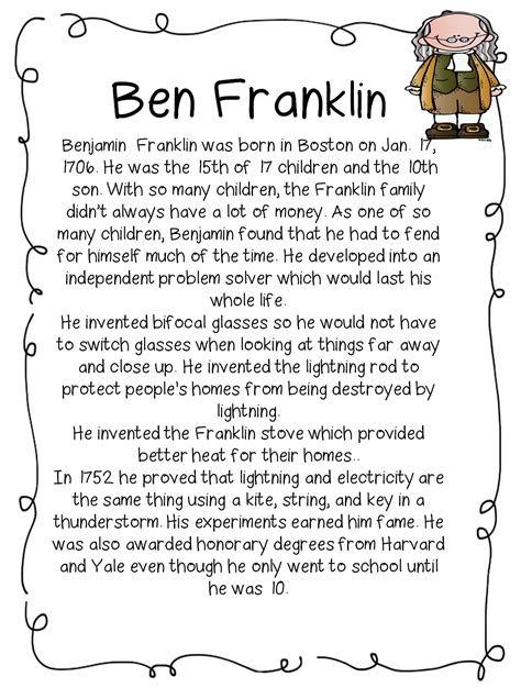 benjamin franklin biography worksheet first grade wow historical figures mlk and inventors