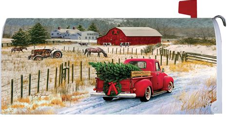red pickup truck merry christmas farm mailbox cover  americas flags