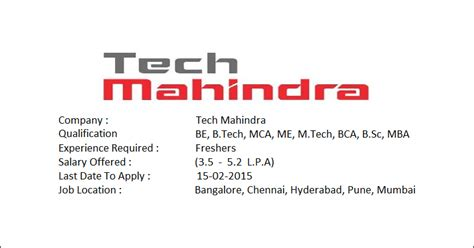 salary package for freshers in tech mahindra walkinjobs tech mahindra hiring freshers salary package