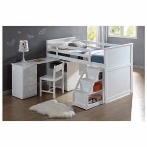 Bunk Bed With Pull Out Bed Underneath Wyatt White Finish Wood Size Loft Bed With Pull Out Desk Work Station Underneath And Slide