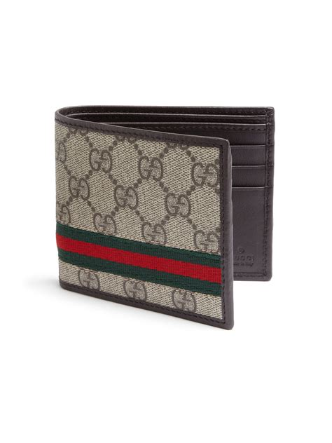 Wallet Gucci Canvas 5521a lyst gucci gg supreme canvas bi fold wallet in brown for