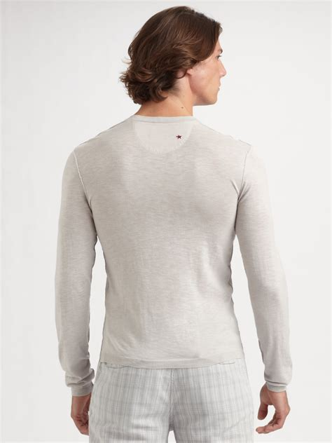 Sweater Converse lyst converse slubbed linen henley sweater in gray for