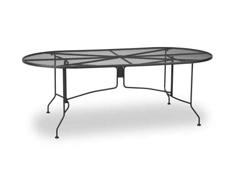 Oval Patio Table Meadowcraft Wrought Iron 84 X 42 Oval Regular Mesh Dining Table 5084000 01