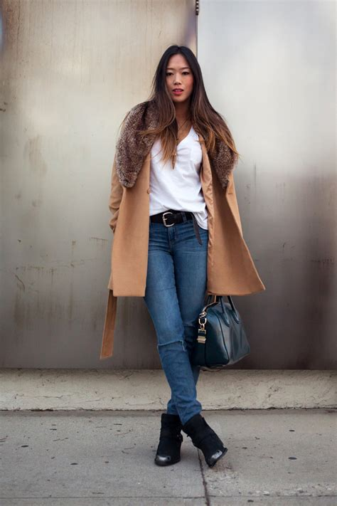 Lulaby Denim faux fur collar coat with denim x nine west boots song of style faux