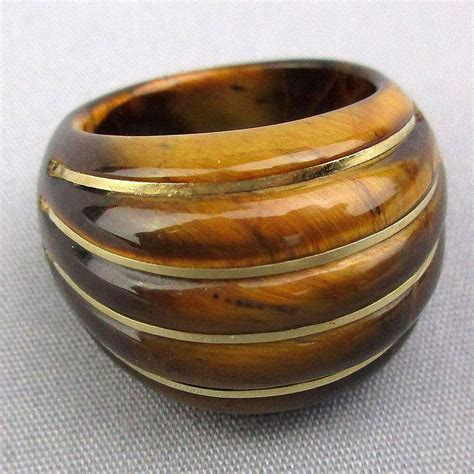 big chunky tiger eye ring w 14k gold stripes from