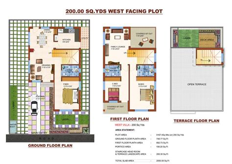 3bhk House Plans south facing villa floor plans india