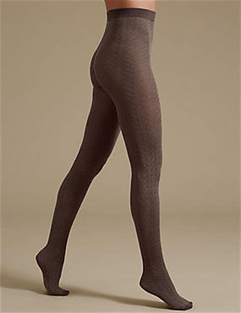patterned tights m s cable diamond texture tights