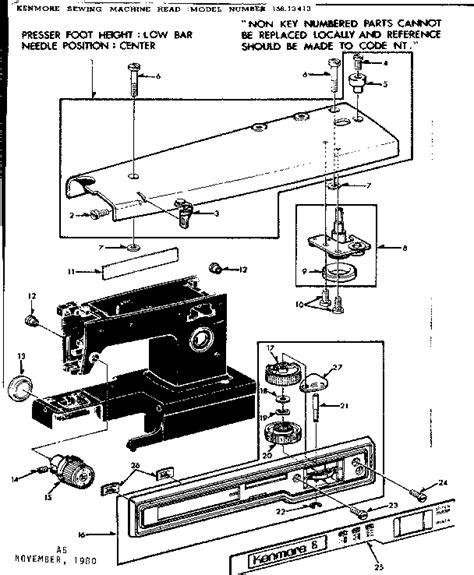 kenmore sewing machine parts diagram kenmore kenmore sewing machine parts model 15813413