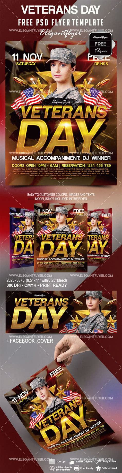 Free Veterans Day Flyer Template By Elegantflyer Day Flyer Template Free