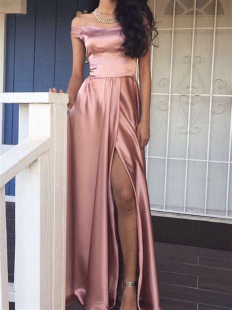Line Slit a line the shoulder pink prom dress with slit