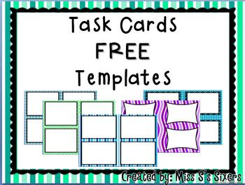 Task Card Template Free Task Card Templates By Miss S S Sixers Teachers Pay Teachers