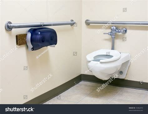 handicapped bars for bathrooms handicap bathroom with grab bars on the walls stock photo