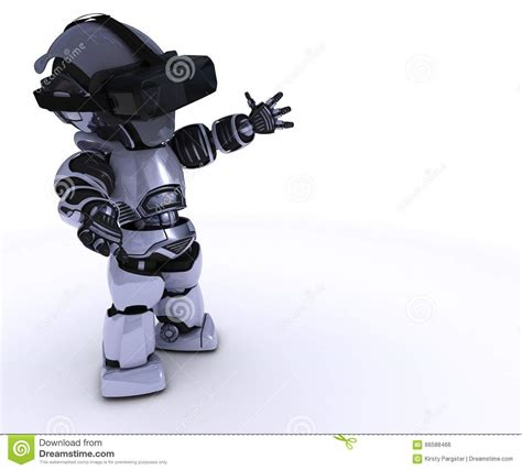 Headset Robot robot with vr set stock illustration image 66588466