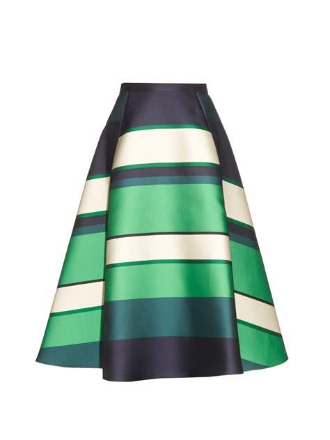 lanvin duchesse stripe berlingot a line skirt in green lyst