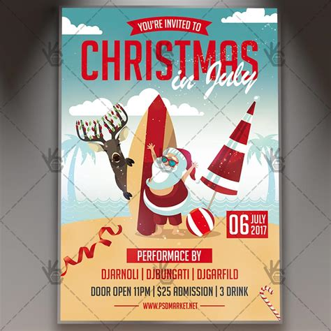 Christmas Santa In July Premium Flyer Psd Template Psdmarket In July Flyer Template