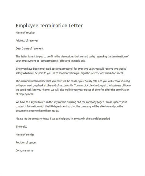 Cancellation Letter Due To 28 Termination Letter Format Due To Cost Cutting Sle Employment Termination Agreement