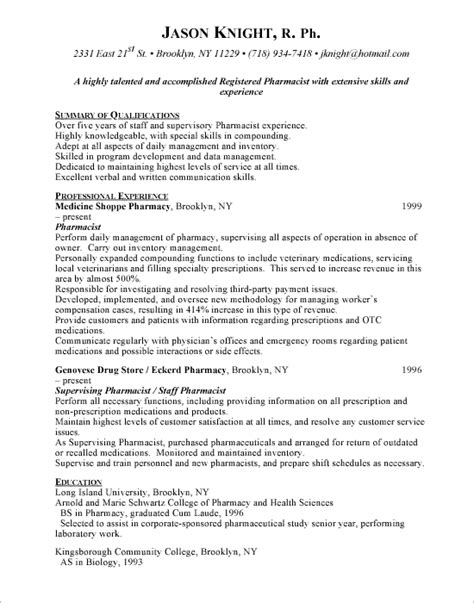 Hospital Pharmacist Resume by Hospital Pharmacist Resume Sle Http Www